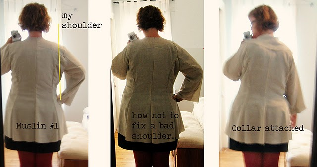 How to butcher a pattern, or why it's important to start out with the correct bust size. Lady Grey, take one.