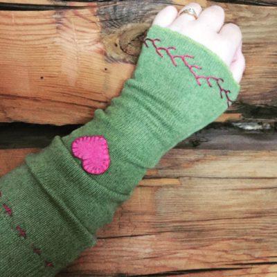 Green Cashmere Heart Wristlet